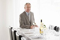 Senior businessman sitting at restaurant