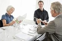 Senior couple at restaurant