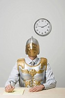 Businessman wearing gladiator armor (thumbnail)