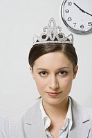Businesswoman wearing tiara