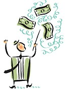 Illustration of a businessman conducting money
