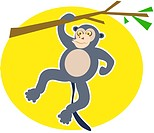 Illustration of a monkey hanging from a tree branch