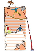 A businessman balancing on a tightrope while people hold a net below (thumbnail)