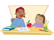 A student giving her teacher an apple