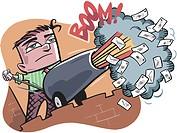 A man firing emails through a cannon
