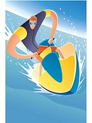 Illustration of a man on jet ski
