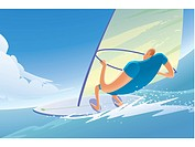 Illustration of a windsurfer