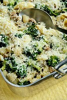 Broccoli, sausage, cheese, and pasta cassarole
