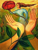 An illustration of mother nature standing near a pair of hands that are holding a rose
