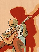 A picture of a man playing guitar