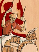 A drummer beating on a set of drums (thumbnail)