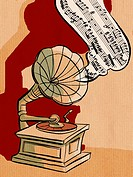 A phonograph playing an old record