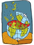 globe with money bursting out of it