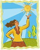A woman holding up the sun