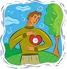 Man holding his heart clock