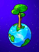 Tree growing out of the earth (thumbnail)