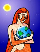 Woman cradling the earth (thumbnail)