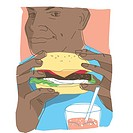 Man eating a hamburger (thumbnail)