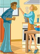 Woman cooking for her boyfriend (thumbnail)