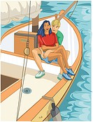 A couple sailing and having a good time together (thumbnail)