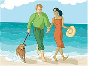 Couple walking their dog (thumbnail)