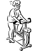 A grandma exercising on an exercise bike