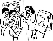 A doctor recommending her patients on food consumption at the diabetes clinic