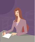 A business assistant taking notes in an office (thumbnail)