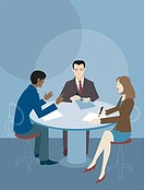 Three people at a round table having a business meeting