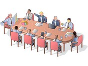 A board meeting conducted in a conference room