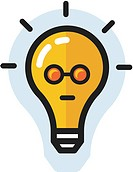 Bright lightbulb with face (thumbnail)