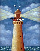 An illustration of three people in a light house looking through telescopes (thumbnail)