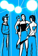 An illustration of a group of party girls