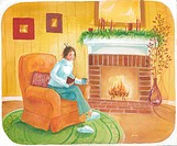 Reading by the fireplace (thumbnail)