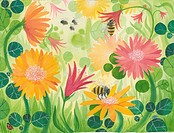 A picture of spring flowers with bees (thumbnail)