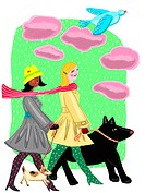 Two women walking their dogs on a cold day (thumbnail)