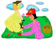 Two women gardening on a fine day