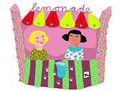 Two girls selling drinks at the lemonade stand