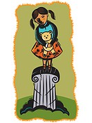 Child on crumbling pedestal (thumbnail)