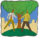 Two businessmen shaking hands under a tree (thumbnail)