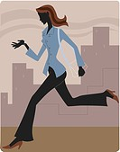 Businesswoman running late and looking at her watch (thumbnail)