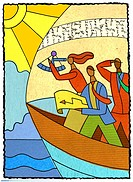 three people navigating in a boat