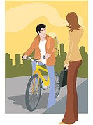 A woman talking to a man on a bike
