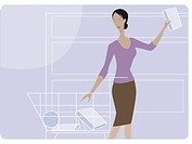 Woman shopping for groceries (thumbnail)