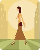 Woman walking to work in the city (thumbnail)
