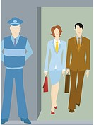 Businessman and businesswoman walking into a secure building (thumbnail)