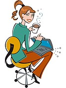 Businesswoman using a laptop and drinking coffee (thumbnail)
