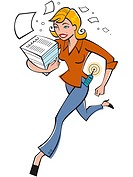 A businesswoman running with a stack of papers (thumbnail)