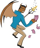 A graphic representation of a pink slip devil
