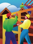 Illustration of construction workers putting up a frame of a house